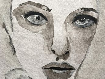 Mixed Media Art, Watercolor Painting, Acrylic Painting, Black And White Wall Art, Watercolor Portrait, Original Art, Woman Portrait, Surreal