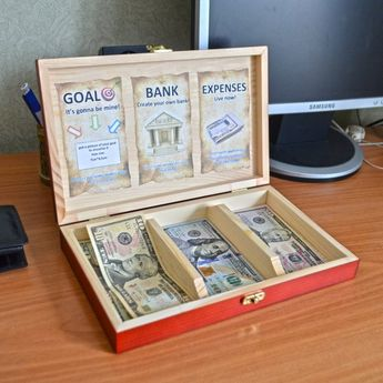 Wooden box CashBox for kids A learning game