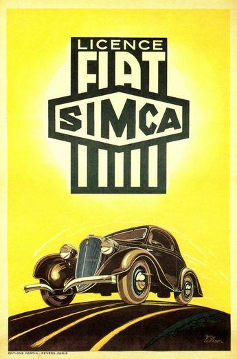 Guy Sabran, Publicité Simca Fiat, 1933