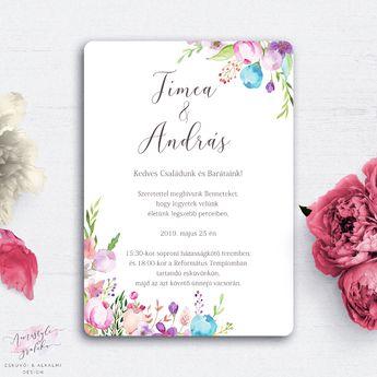 f08b2a9d8f Festett Virágos Vintage Esküvői Meghívó - Esküvői Meghívó, Alkalmi és  Családi Grafika Webáruház