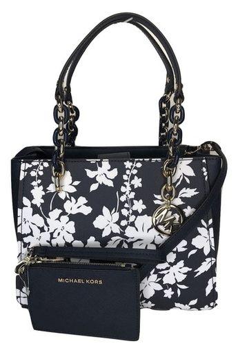64d01e5133eb Michael Kors Sofia Md Bundled with Wallet Navy/White Floral Leather Satchel