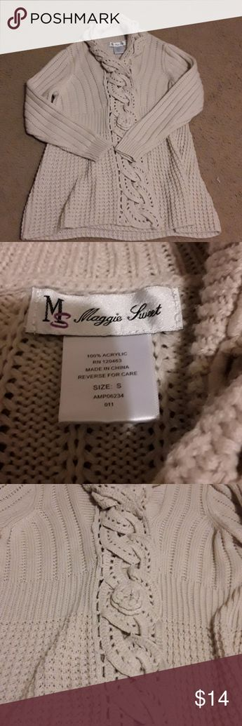 3165f30d7c9 Small Cream Sweater Women s small cream or light tan sweater. Has button  clasp closure and