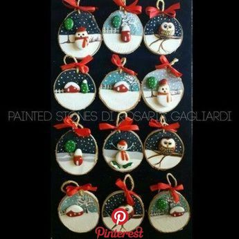 Hello! Thank you for looking at my product. These are my robin pebble art log slice decorations. They are created using