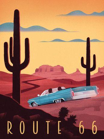 Retro Poster - Route 66 - Vintage Travel