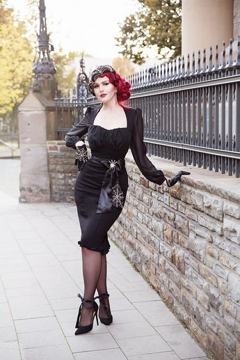 Aziza Dress in Black Ponte by Elvira Mistress of the Dark Couture for Everybody Pinup Couture Pinupgirlclothing Laura Byrnes Goth Gothdress Blackdress Sheer Sheersleeves Robe Gothgirl Gothstyle Gothbabes Gothabilly Classicgoth Vintagegoth Gothvintage Spider Spiderweb