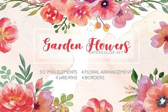 Watercolor Flowers Wreaths Collection Set