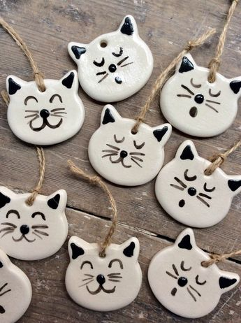 Handmade, hand painted hanging rustic white ceramic cat decoration, perfect Christmas, Valentine's Day, wedding favours or gift
