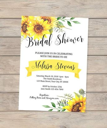 rustic sunflower fall bridal shower invitation