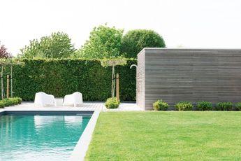 Modern zwembad in de tuin met poolhouse. overloopzwembad va