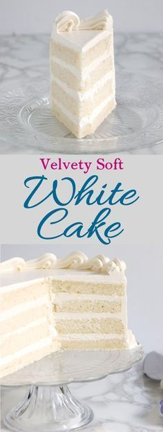 Velvety Soft White Cake: Velvety, soft white cake made from scratch is easy to do. How you mix the cake makes a big difference. Find out why the reverse creaming technique is the way to get a white cake with a tender and moist crumb. ~ Baking Sense