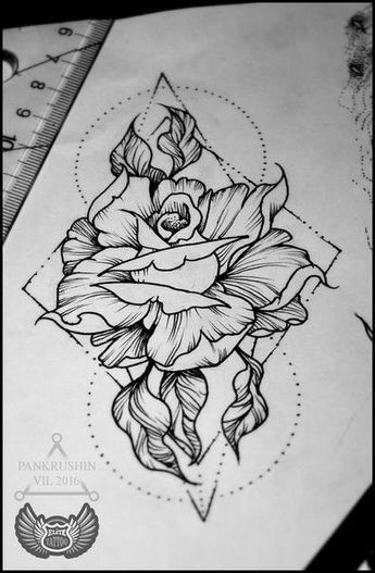 Floral rose tattoo
