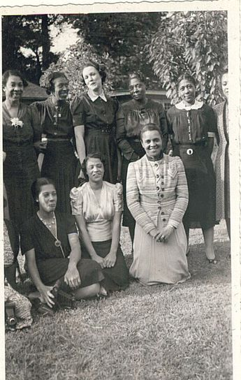 Top row left to right:  Unknown, Unknown, Unknown, Founder Ethel Cuff Black, Founder Naomi Sewell Richardson    Front row left to right:  Unknown, Soror Marion Waples, Soror Escobedo Posey    1936 or 1937 Delta Sigma Theta Sorority, Inc.