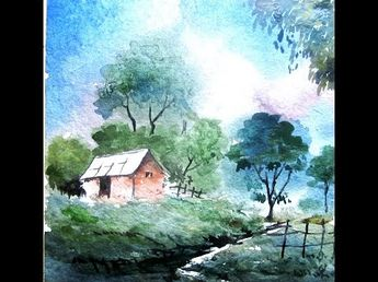 how to paint landscape painting,watercolor painting tutorial,watercolor painting for beginners - YouTube