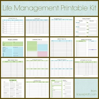 Life Management Printable Kit Includes these 15 printables: Auto Maintenance Log Account Tracker Cleaning Schedule Daily Schedule Emergency Info Exercise Log Inspirational Tidbits Master Project List Meal Planning Calendar Online Password Tracker Birthday & Anniversary Calendars Restaurants and Take Out Shopping List Spending Tracker Perfect for students, singles, married couples, and families!