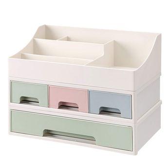 SONGMICS Boîte de Rangement 3 en 1 Organiseur compartimenté 4 Tiroirs Empilable en Plastique pour Produits cosmétiques, Stylos, Table, Bureau, Salle de Bain JMU14GN