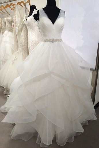 7865b4d3b15 V-neck Tulle Wedding Dresses with Volume Layers Horsehair Trim