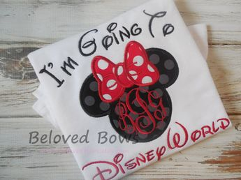 For the girls :-) I'm Going To Disney World Applique Ruffle Shirt or Bodysuit  for Little Girl--Personalized