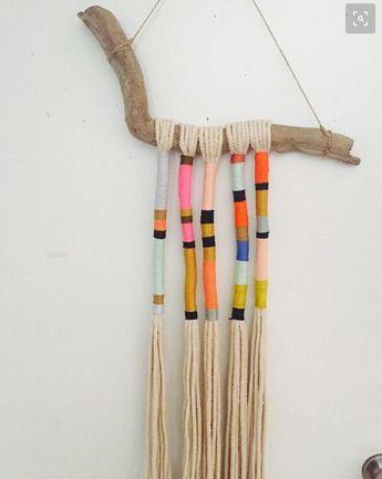 Bohemian yarn wrapped tassel wallhanging