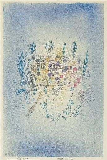 Artwork by Paul Klee, HAUSER AM PARK (HOUSES IN THE PARK), Made of watercolor on paper