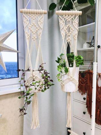 Macrame Plant Hanger, Macrame Cotton Boho Planter, Hygge Macrame Plant Holder on Stick, Modern Macrame Pot Hanger, Anniversary Gift Idea