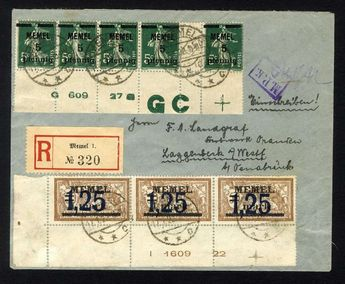 Memel 5 Pfg. horizontal Zw.-Streifen 5 stamps from lower margin with complete date of printing G 609 27 and GC as well 1.25 Mk. li. Lower ER-3erStreifen with complete date of printing I 1609 22 on correctly franked E-letter Memel 17. 1. 22 with censorship, extremely rare, Michel lots already 700,-  Dealer Jennes and Klüttermann  Auction Minimum Bid: 380.00EUR