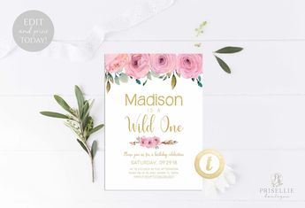 floral first birthday invitation girl boho pink gold flora