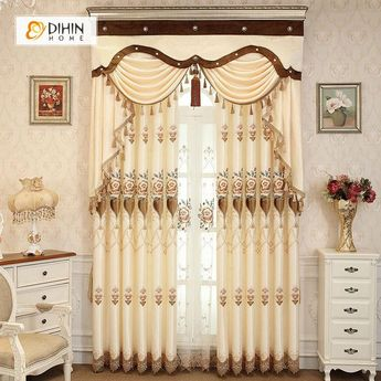 DIHIN HOME Middle Beige Flowers Embroidered,Blackout Grommet Window Curtain for Living Room ,52x63-inch,1 Panel