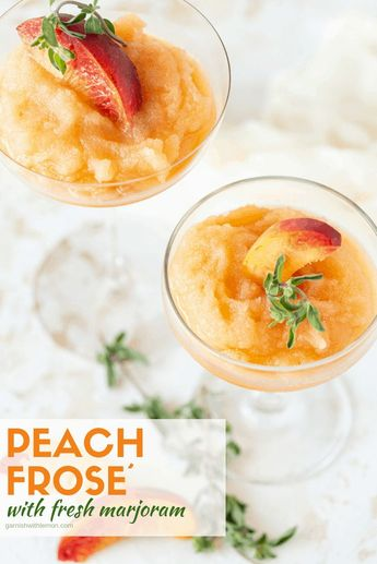 Beat the heat this summer with this 4-ingredient Peach Frosé recipe. This adult wine slushy blends juicy peaches, fruity rosé wine and herbal marjoram for an uber-refreshing cocktail! #rosé #frosé #wineslushie #peaches #cocktailrecipe