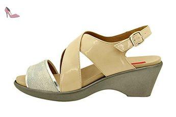 Chaussure femme confort en cuir Piesanto 8852 sandale semelle amovible  confortables amples - Chaussures piesanto ( d6c92ed55302