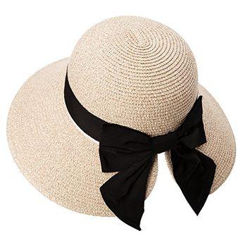 Amazing offer on Siggi Womens Floppy Summer Sun Beach Straw Hat UPF50  Foldable Wide Brim 55 ac40bf843c57