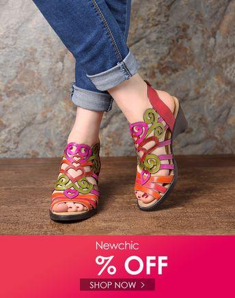 SOCOFY Super Comfy Hollow Genuine Leather Love Shape Soft Hook Loop Low Heel Sandals