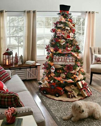 Christmas Tree Idea - red truck, burlap ribbon, colored lights. Rustic, Country, Farmhouse