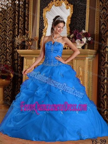 Clearance Taffeta Tulle Slot Neck Appliqued Blue Quince Dresses with Pick-ups