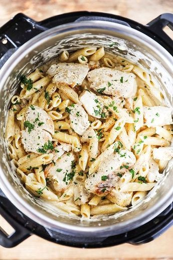 This Instant Pot Chicken Alfredo Pasta is so delicious and so easy to make, this is definitely going to be one of your go-to Instant Pot dinners! Flavorful chicken breasts, garlic, penne, real cream and real parmesan cheese, and the best part is it all cooks together in the Instant Pot.