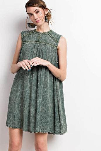 145ae39bc75 Oil Wash Mock Neck Tunic Dress - Wormwood Green