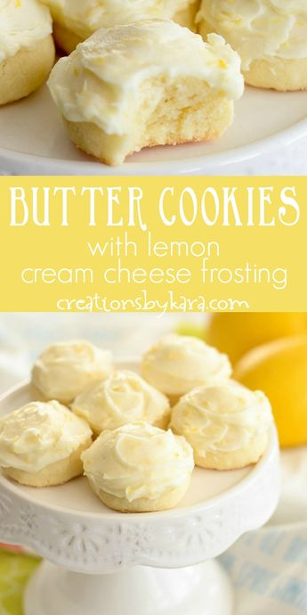 Butter Cookies with Lemon Cream Cheese Frosting - these incredible cookies just melt in your mouth! It's hard to resist these tasty butter cookies, and the lemon cream cheese frosting is amazing. #buttercookies #lemonbuttercookies #lemoncookieswithlemonfrosting #shortbreadcookies #egglessbuttercookies #creationsbykara