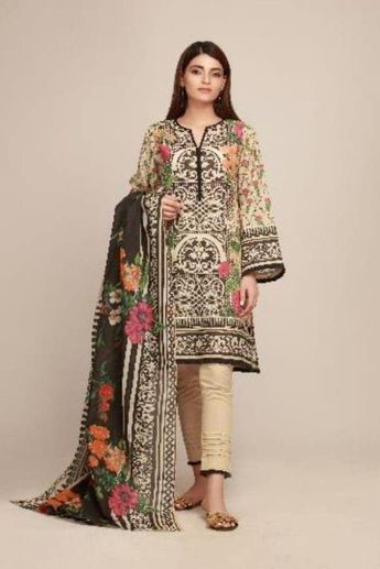 36fac4fd3c Khaadi Early Spring/Summer Lawn Collection 2019 – AR19106 Beige 3Pc