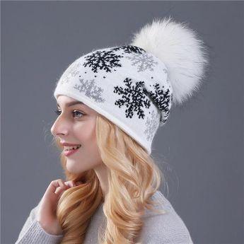 15d890f5e5744 ENJOYFUR Women winter natural mink fur hats Thick Warm Knit
