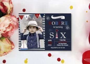 Nautical 6th Birthday Invitation