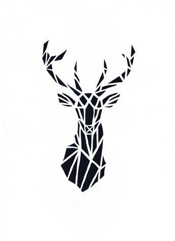 DIY tête de cerf géométrique papier canson blanc coupé et fond noir