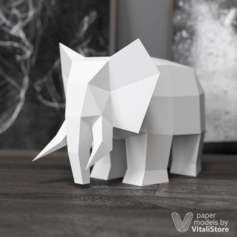 Elephant Papercraft, DIY Paper Sculpture, DIY Gift