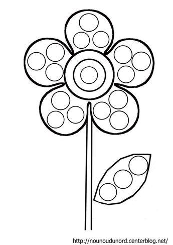 Fleur à gommettes coloriage