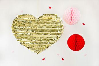 DIY Gold Mylar Heart Piñatas for Valentine's Day