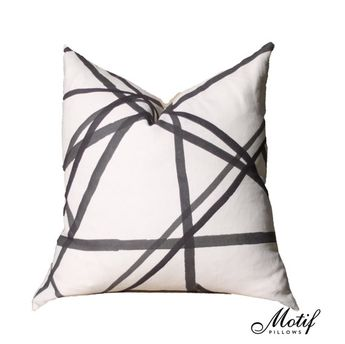 Kelly Wearstler Channels Pillow Cover  Ivory Ebony by MotifPillows (24x24 - $120)
