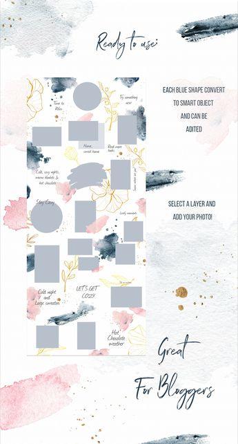 Instagram Winter Watercolor Template by SpringArtsShop on @creativemarket