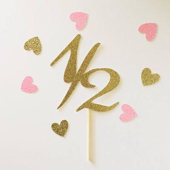 Glitter 1 2 Birthday Cake Topper Smash Pick 6 Month