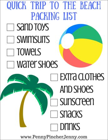 This quick trip to the beach printable is the perfect way to make sure you don't forget to pack any of the essential needs for the beach! #staycation #printable #freeprintable