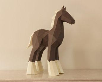 Low Poly Papercraft Horse Sculpture photo