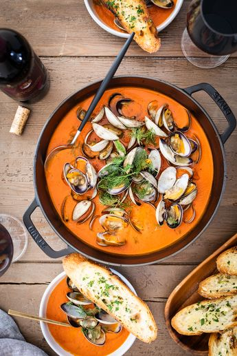 Clams and Mussels in Spicy Tomato Broth + Rioja