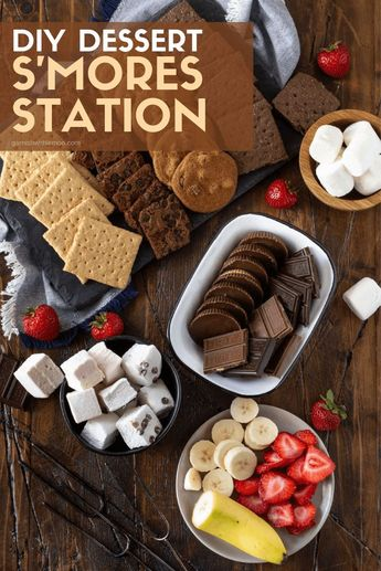 This DIY Dessert S'mores Station is easy to set up and has your guests do the work so you can enjoy the party! Entertain with ease and confidence at your next gathering with a s'mores bar! #chocolate #smores #desserts #Dessertstation #easyentertaining